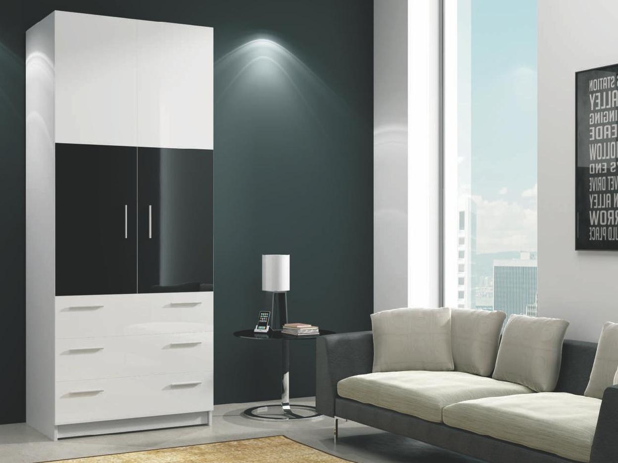 Smartshop ROMA šatní skříň se zásuvkami, bílá/černý lesk
