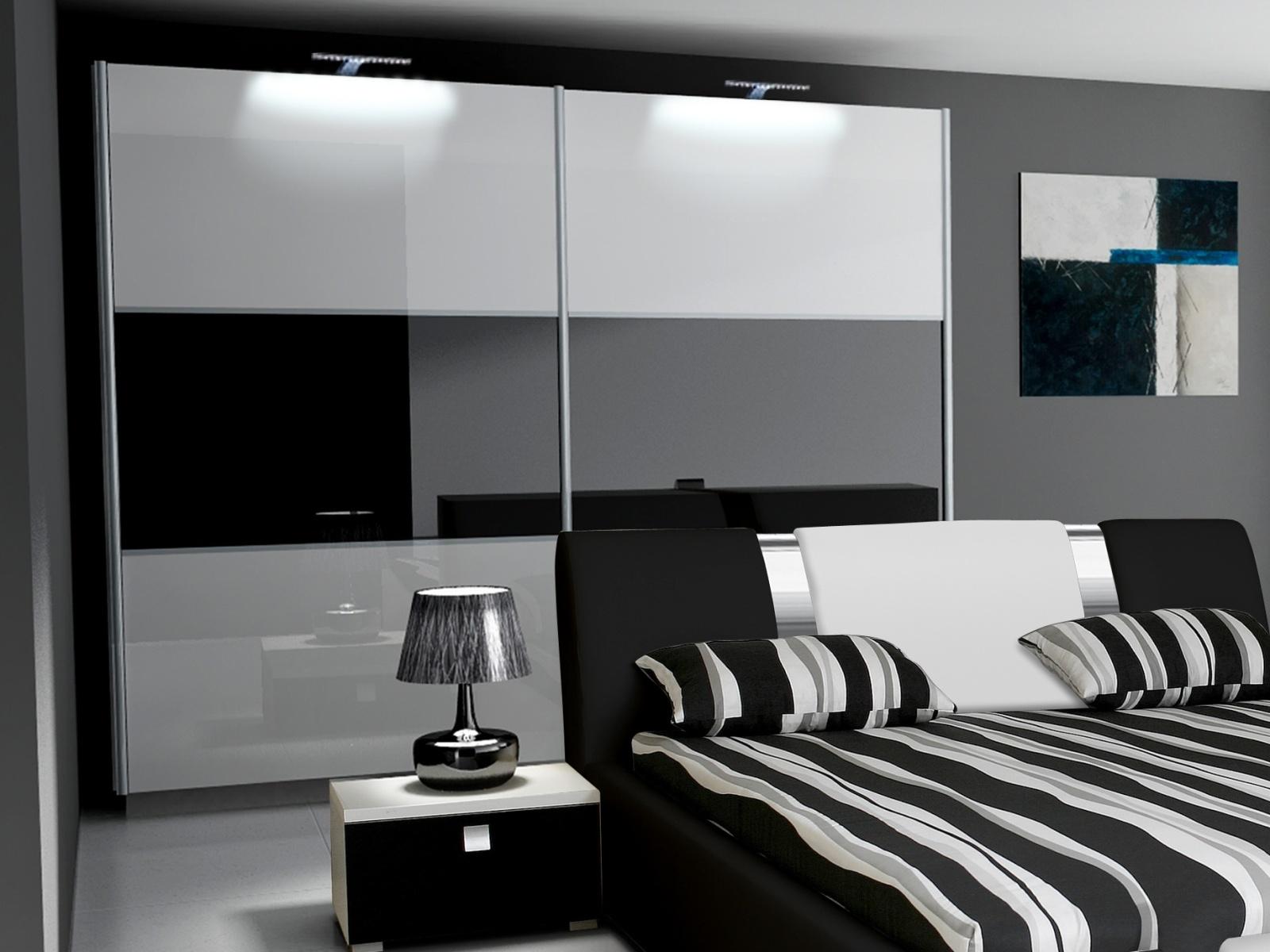 Smartshop Šatní skříň RIVA II 200, bílá/bílý + černý lesk