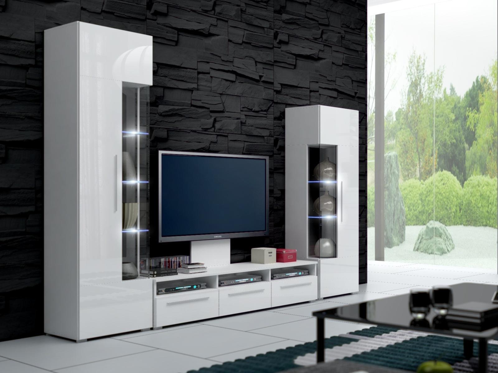 Smartshop Obývací stěna ROMA II s LED osvětlením, bílá/bílý lesk