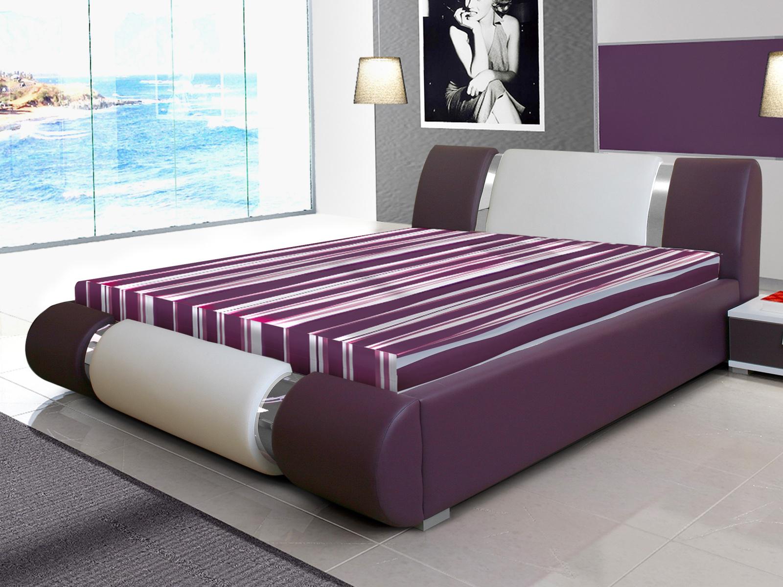 Smartshop Čalouněná postel RIVA II 160x200 cm, bílá ekokůže/fialová ekokůže