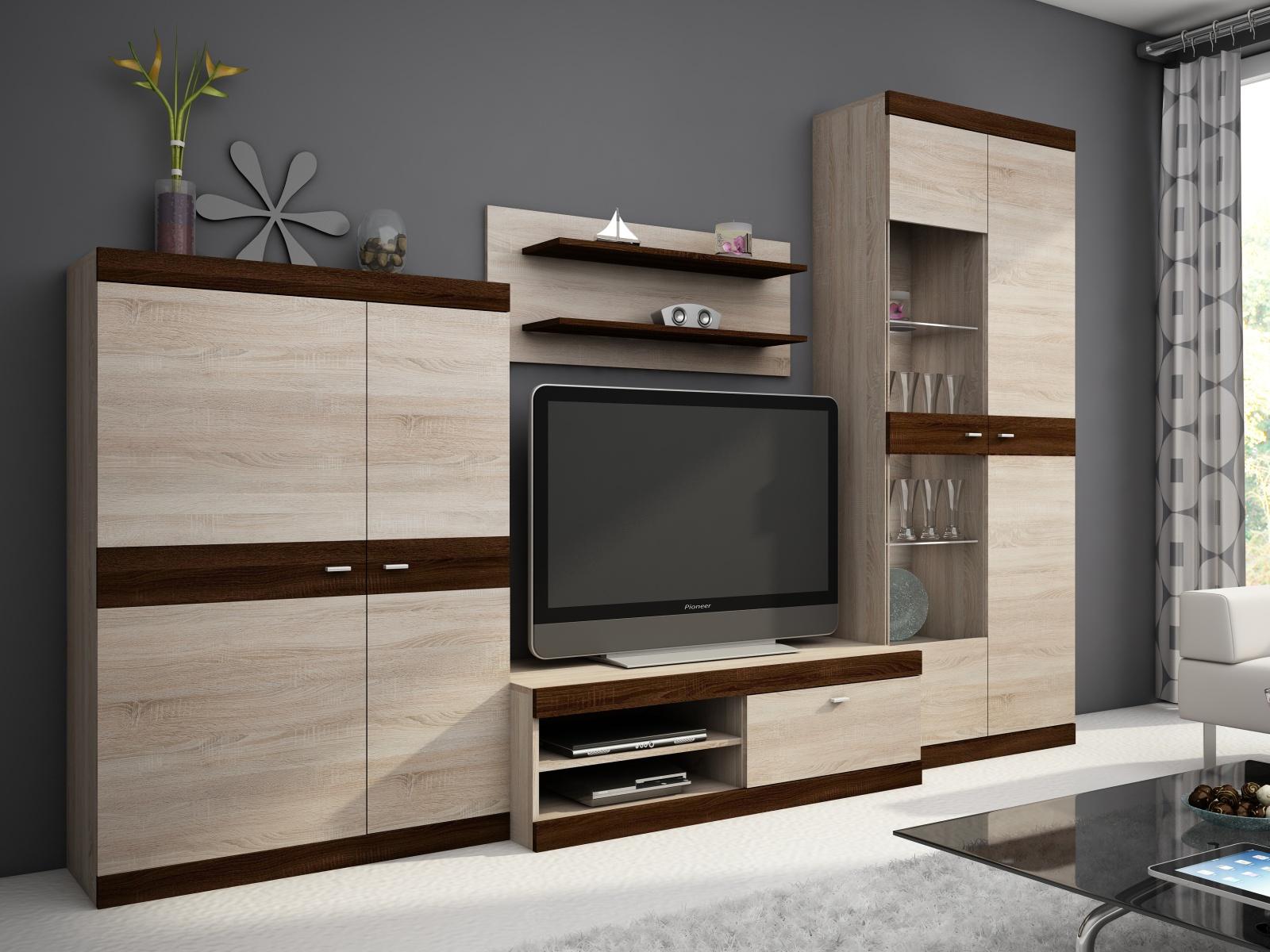 Smartshop Obývací stěna DINO I, dub sonoma/dub sonoma čokoládový