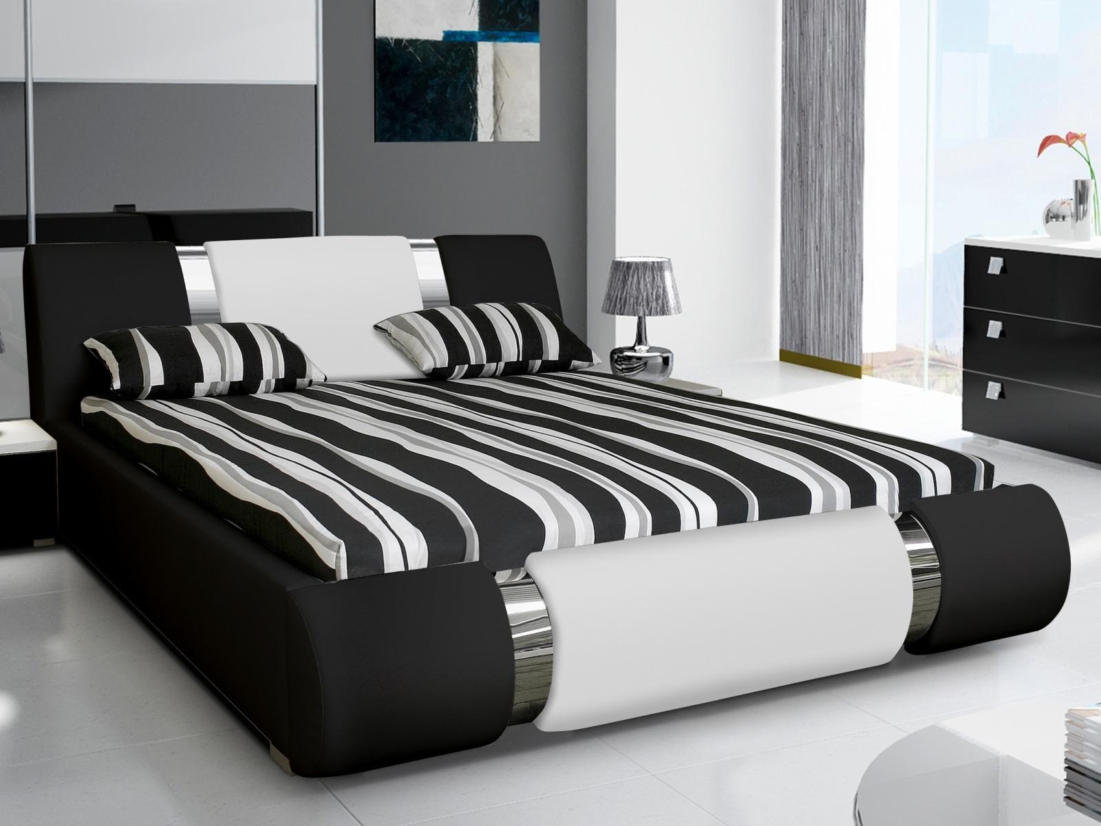Smartshop Čalouněná postel RIVA II 160x200 cm, bílá ekokůže/černá ekokůže