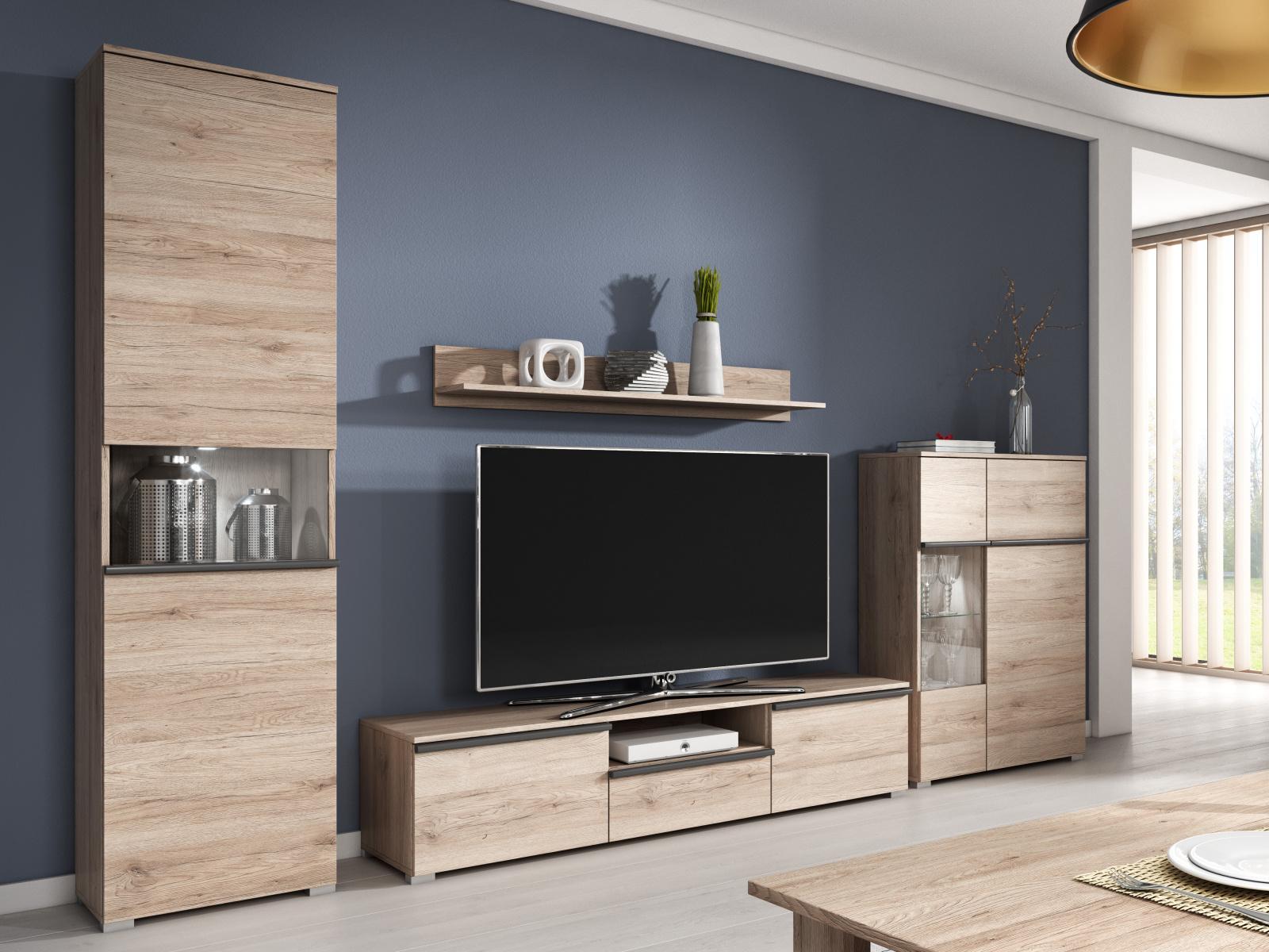 Smartshop Obývací stěna LARGO I, dub san remo světlý