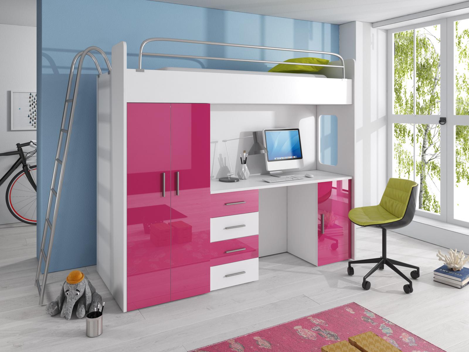 Smartshop Patrová postel se skříní a psacím stolem RAJ 4D, bílá/růžová