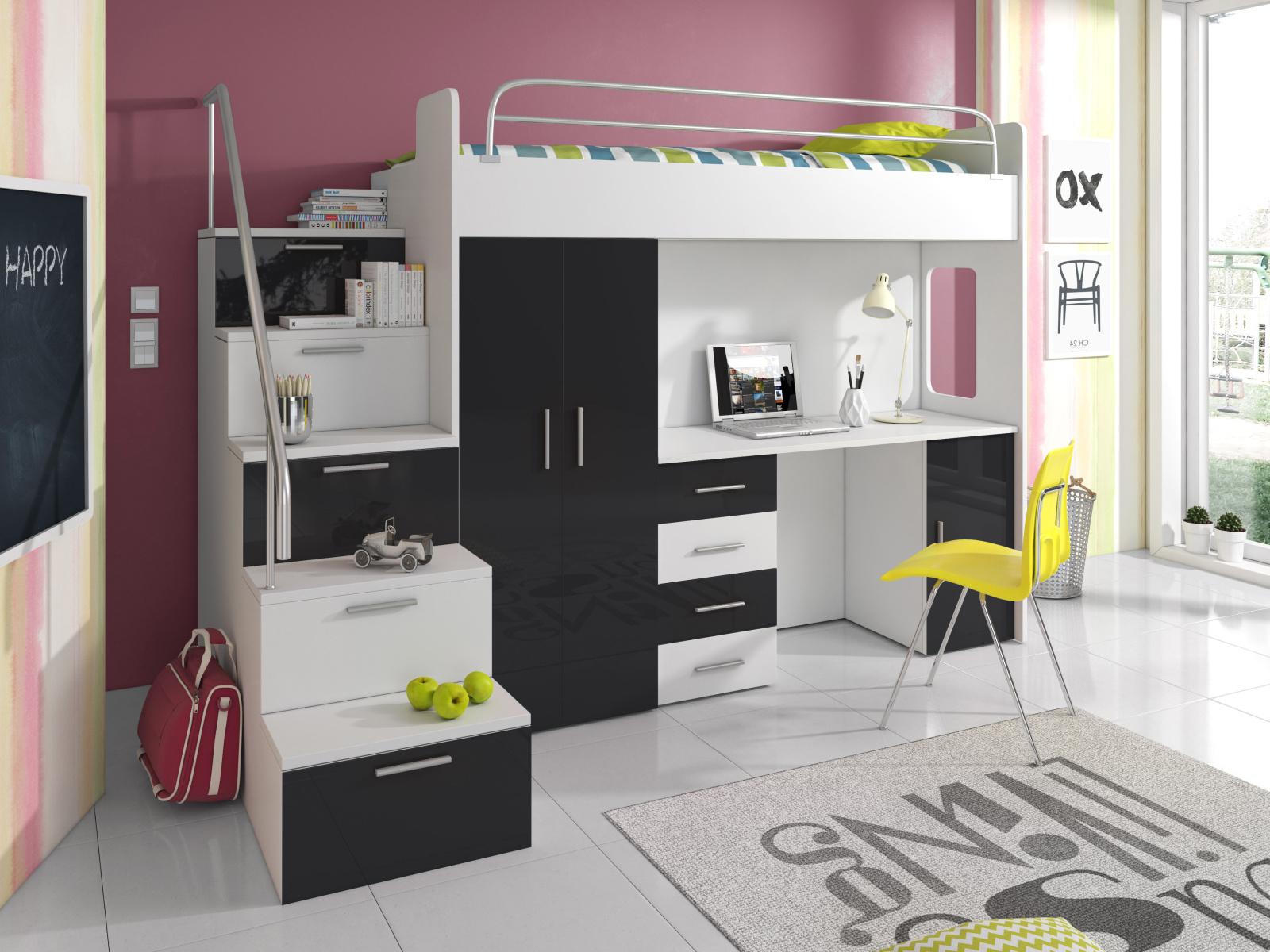 Smartshop Patrová postel se skříní a psacím stolem RAJ 4S, bílá/černá