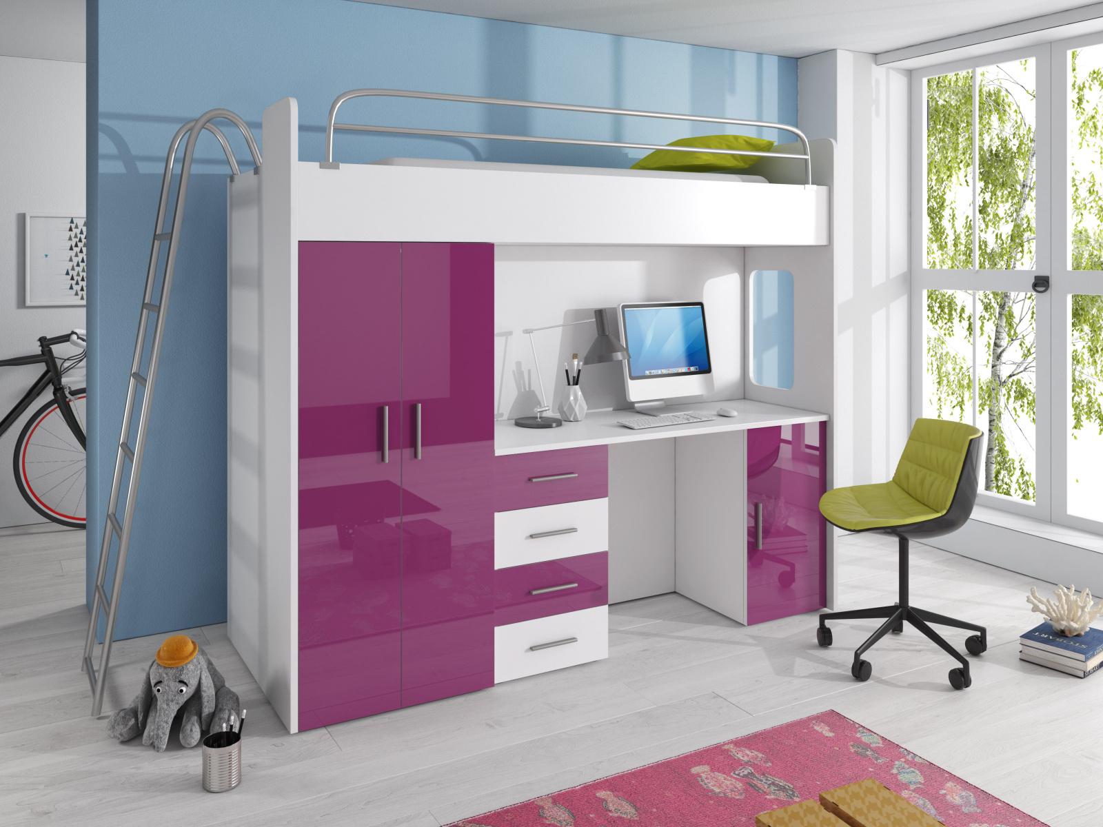 Smartshop Patrová postel se skříní a psacím stolem RAJ 4D, bílá/fialová