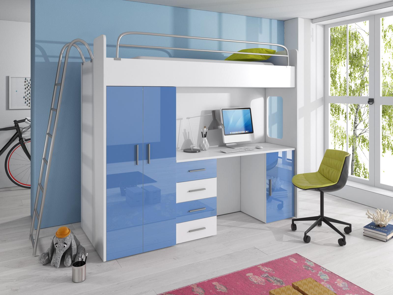 Smartshop Patrová postel se skříní a psacím stolem RAJ 4D, bílá/modrá