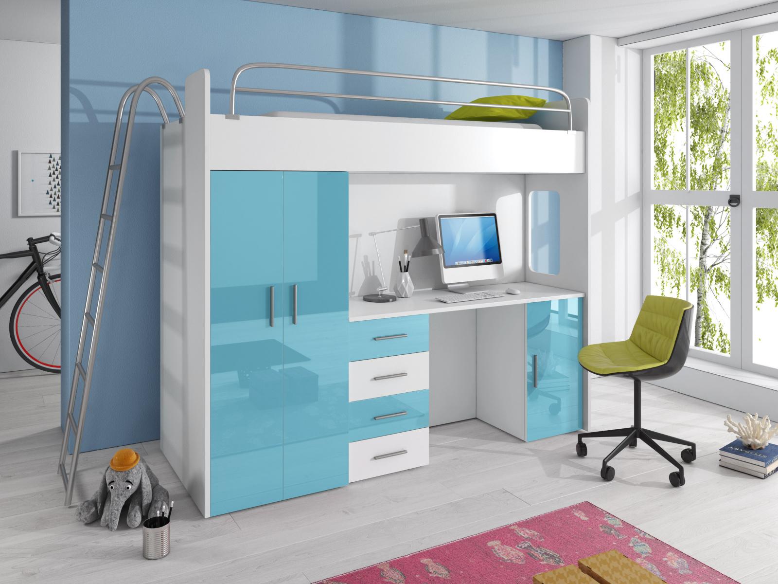 Smartshop Patrová postel se skříní a psacím stolem RAJ 4D, bílá/tyrkysová
