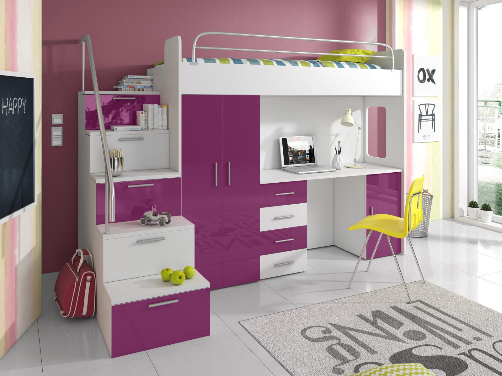 Smartshop Patrová postel se skříní a psacím stolem RAJ 4S, bílá/fialová