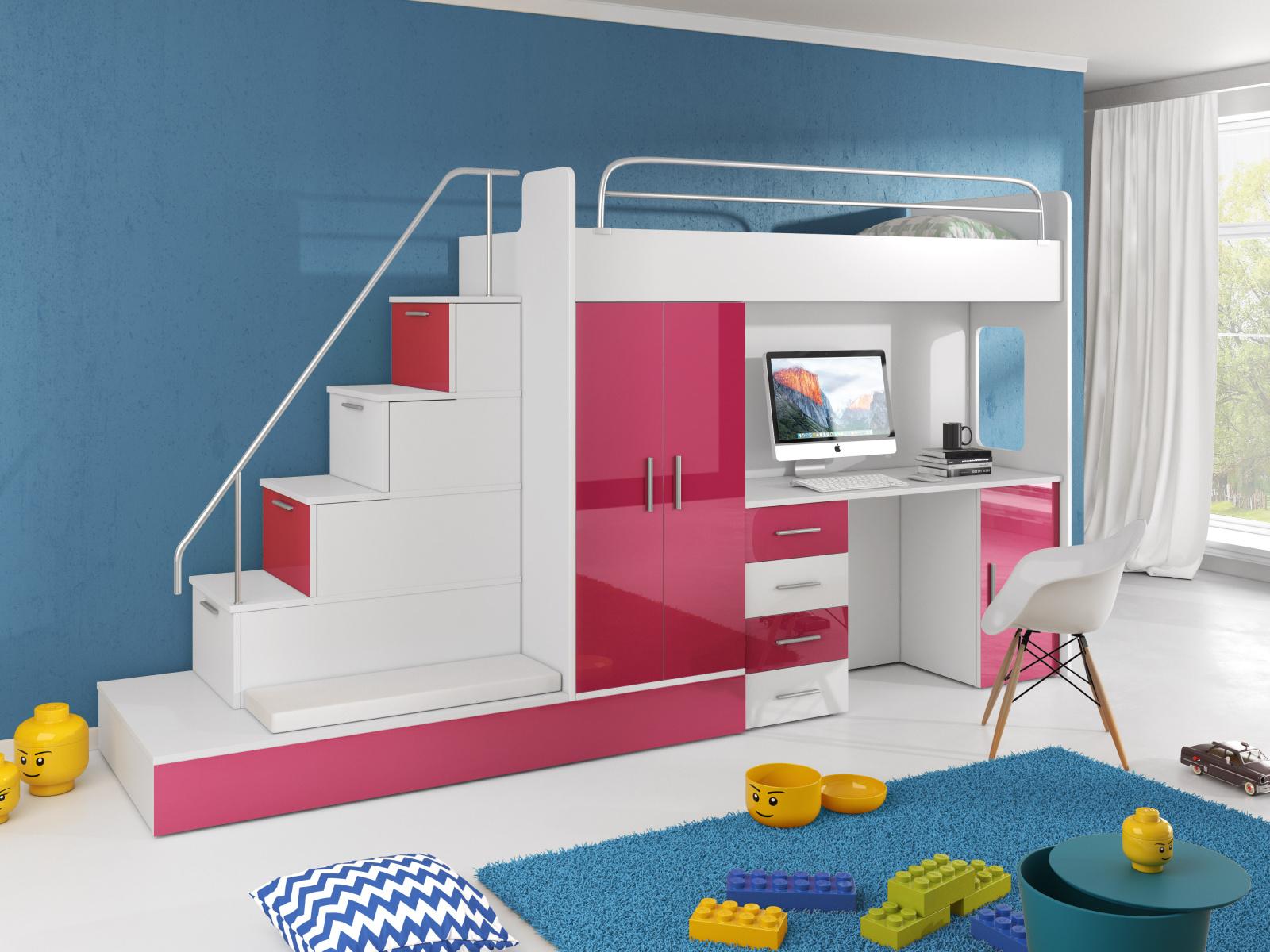 Smartshop Patrová postel se skříní a psacím stolem RAJ 5, bílá/růžová