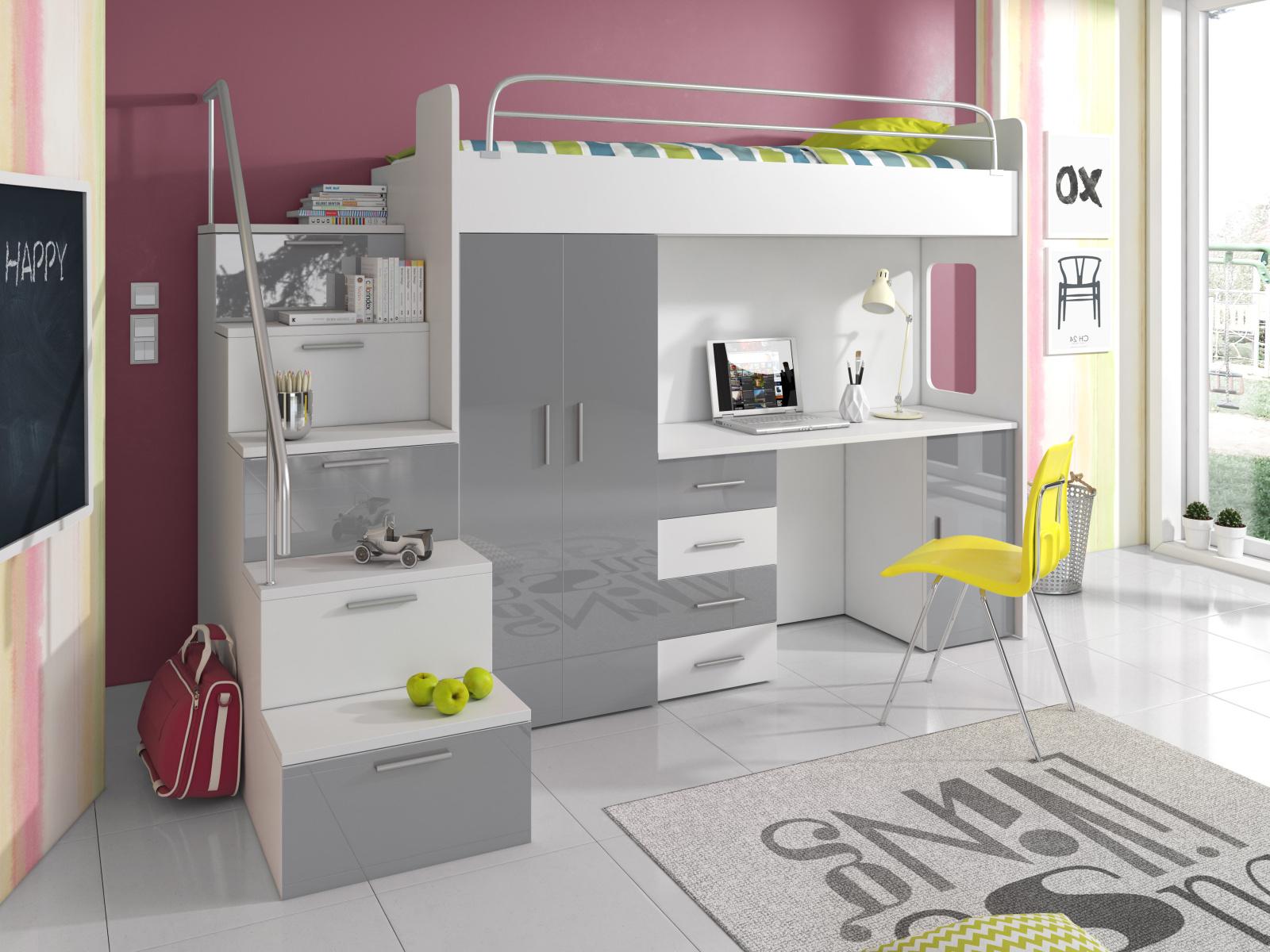Smartshop Patrová postel se skříní a psacím stolem RAJ 4S, bílá/šedá