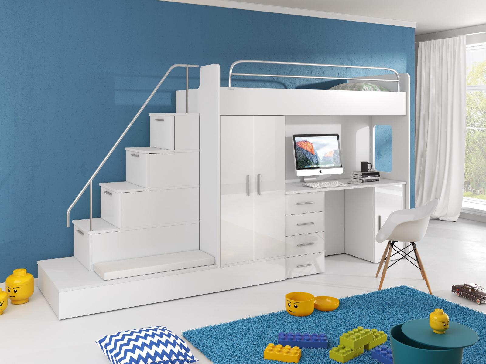 Patrová postel se skříní a psacím stolem RAJ 5, bílá