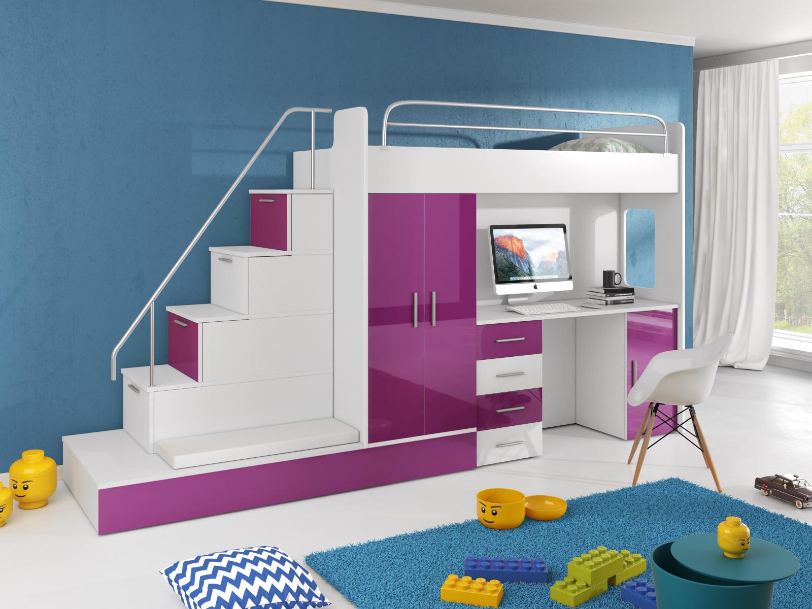 Smartshop Patrová postel se skříní a psacím stolem RAJ 5, bílá/fialová