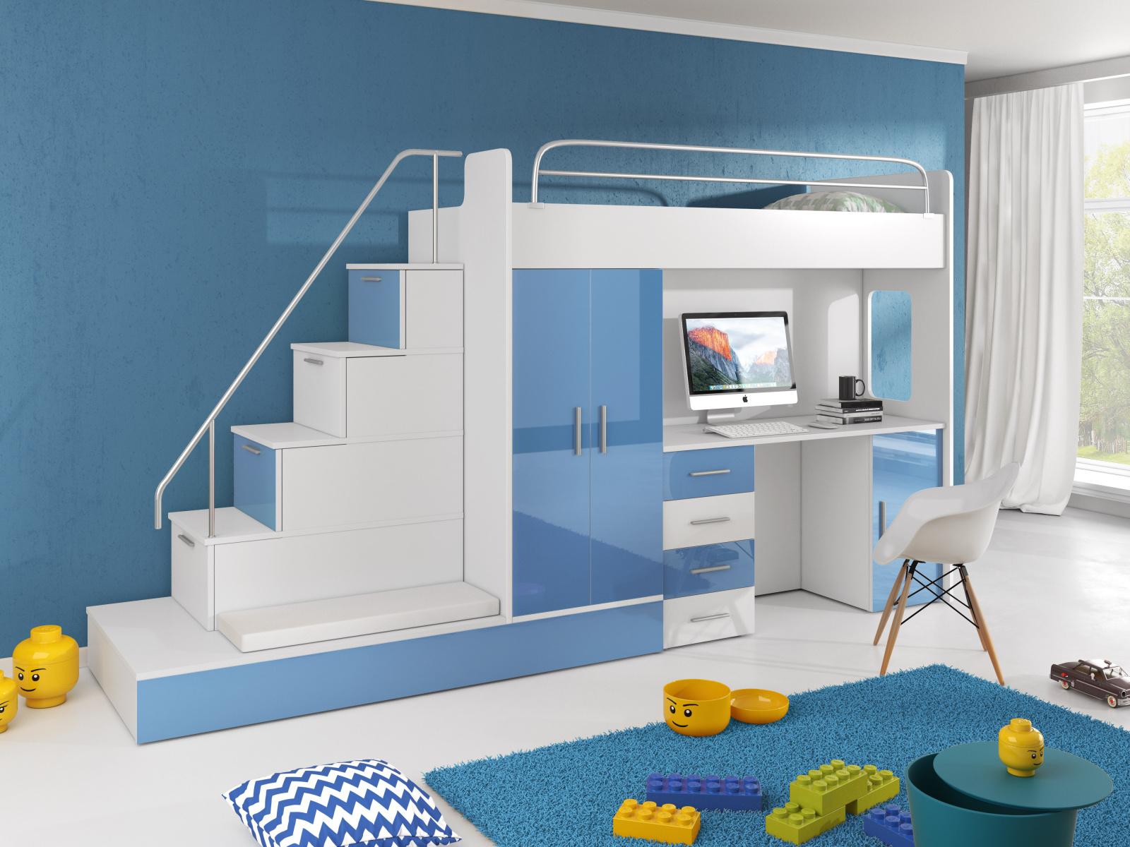 Smartshop Patrová postel se skříní a psacím stolem RAJ 5, bílá/modrá