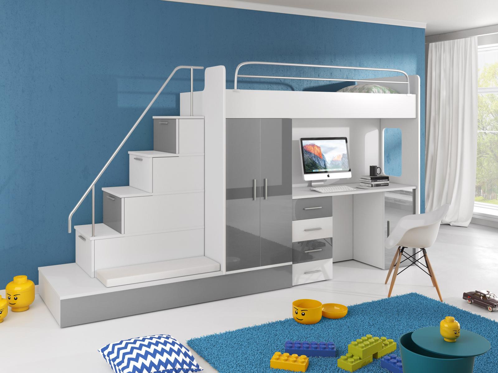 Smartshop Patrová postel se skříní a psacím stolem RAJ 5, bílá/šedá