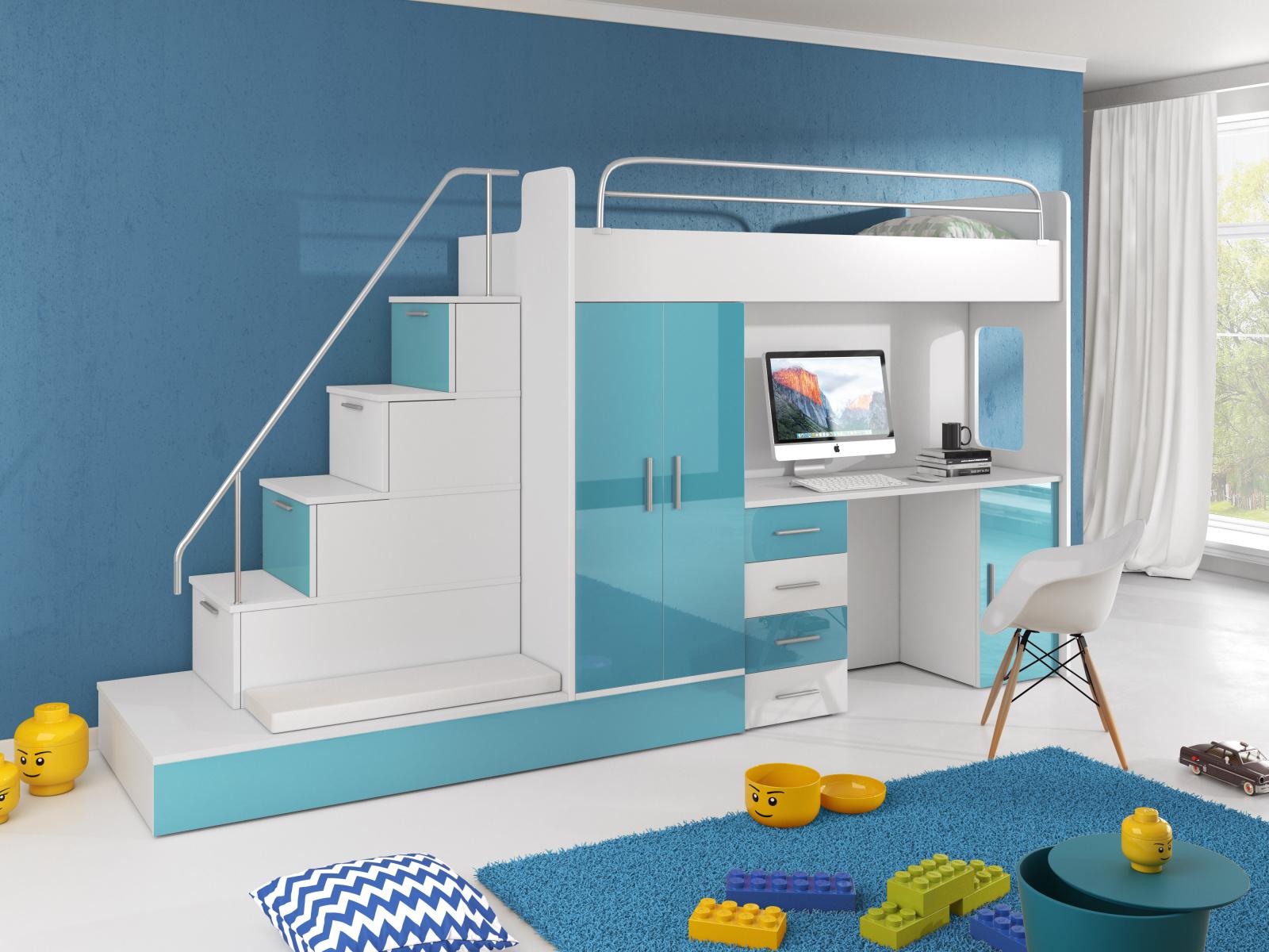 Smartshop Patrová postel se skříní a psacím stolem RAJ 5, bílá/tyrkysová