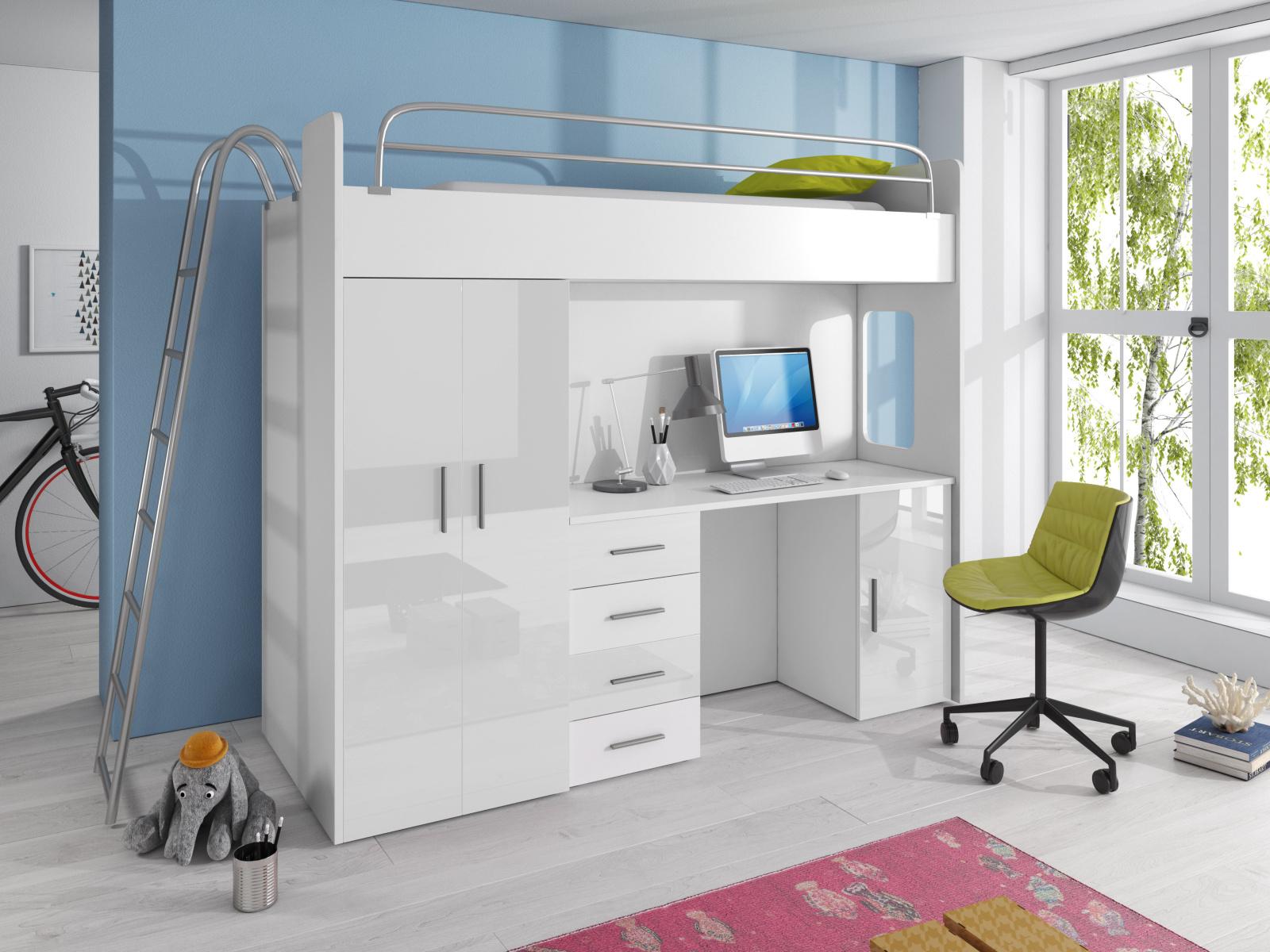 Smartshop Patrová postel se skříní a psacím stolem RAJ 4D, bílá