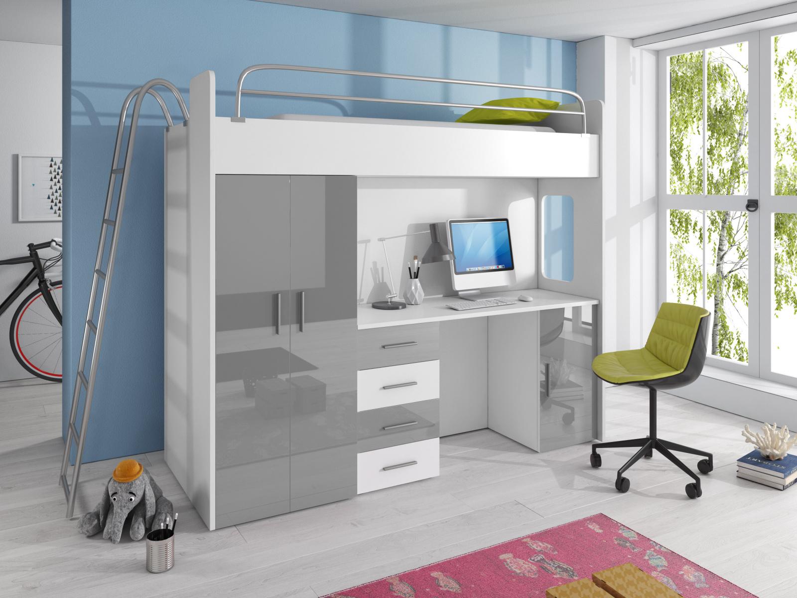 Smartshop Patrová postel se skříní a psacím stolem RAJ 4D, bílá/šedá