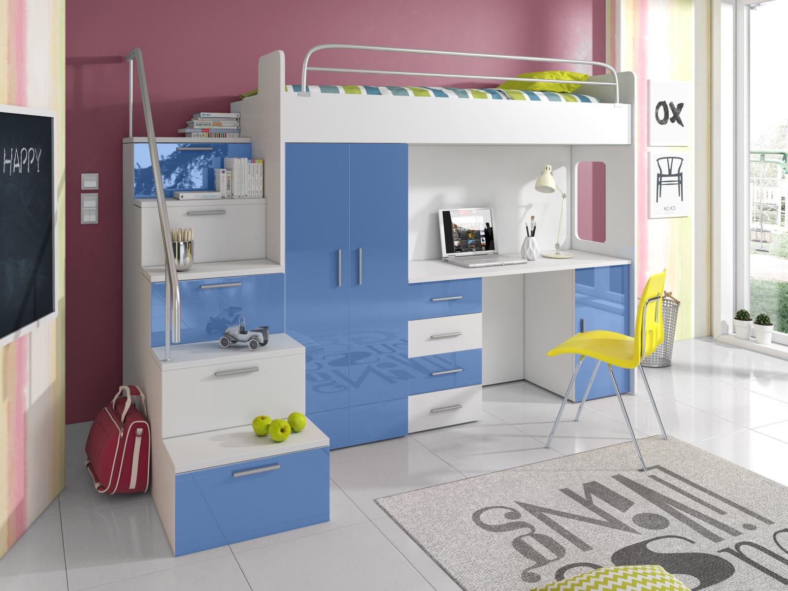 Smartshop Patrová postel se skříní a psacím stolem RAJ 4S, bílá/modrá