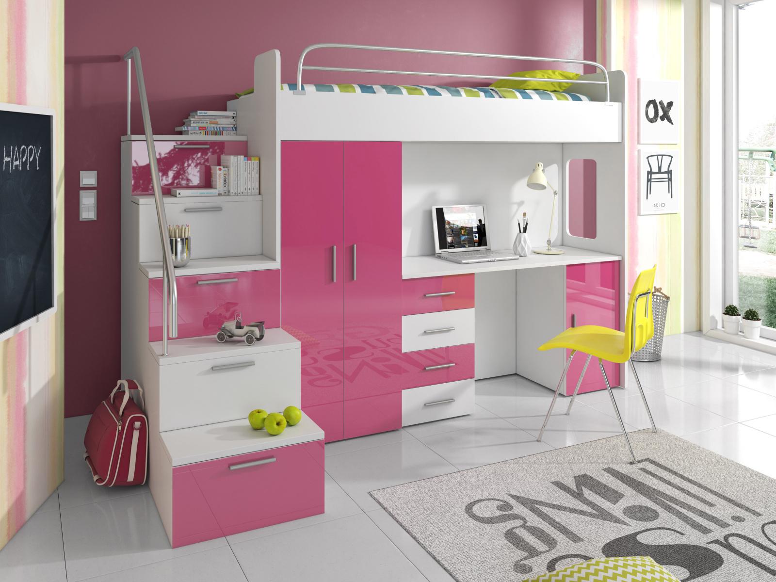 Smartshop Patrová postel se skříní a psacím stolem RAJ 4S, bílá/růžová