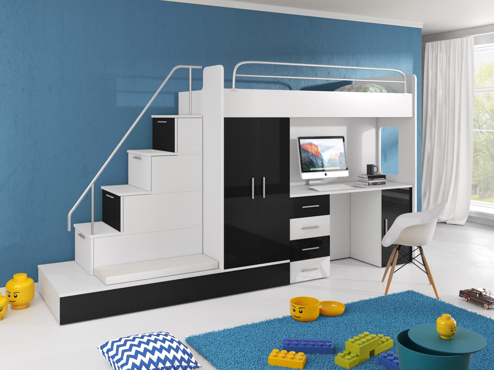 Smartshop Patrová postel se skříní a psacím stolem RAJ 5, bílá/černá