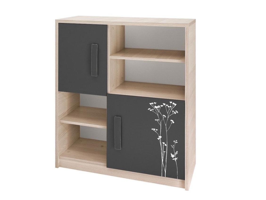 Smartshop BREGI komoda K2D, jasan/grafit+květiny