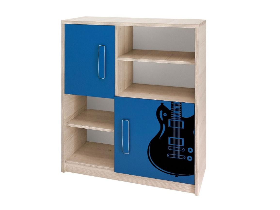 Smartshop BREGI komoda K2D, jasan/modrá+music