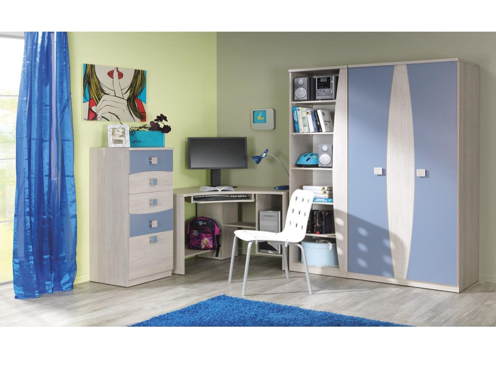 Smartshop TENUS dětský pokoj, dub santana/modrá