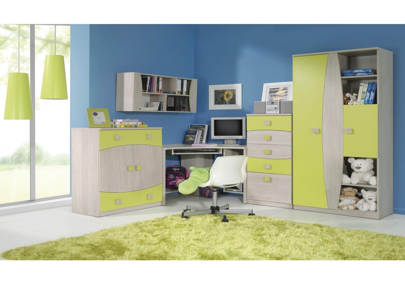 Smartshop TENUS dětský pokoj, dub santana/zelená
