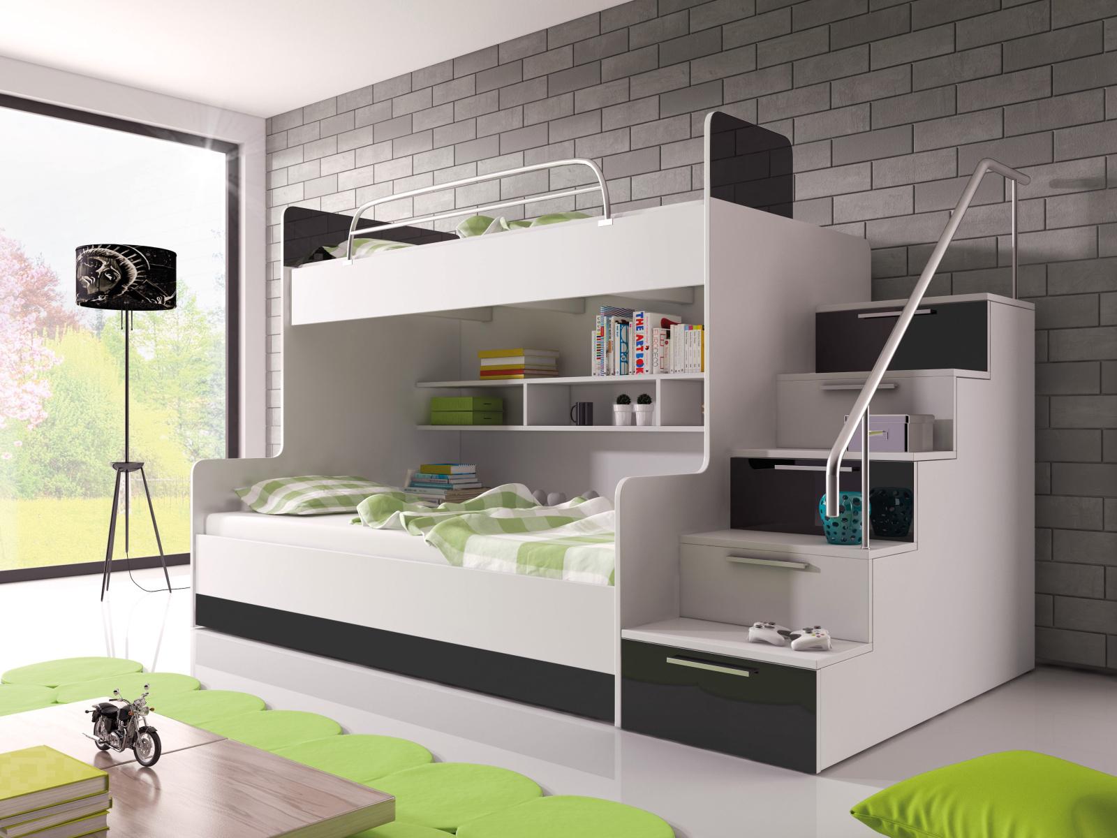 Smartshop Patrová postel RAJ 2 pravá, bílá/černý lesk