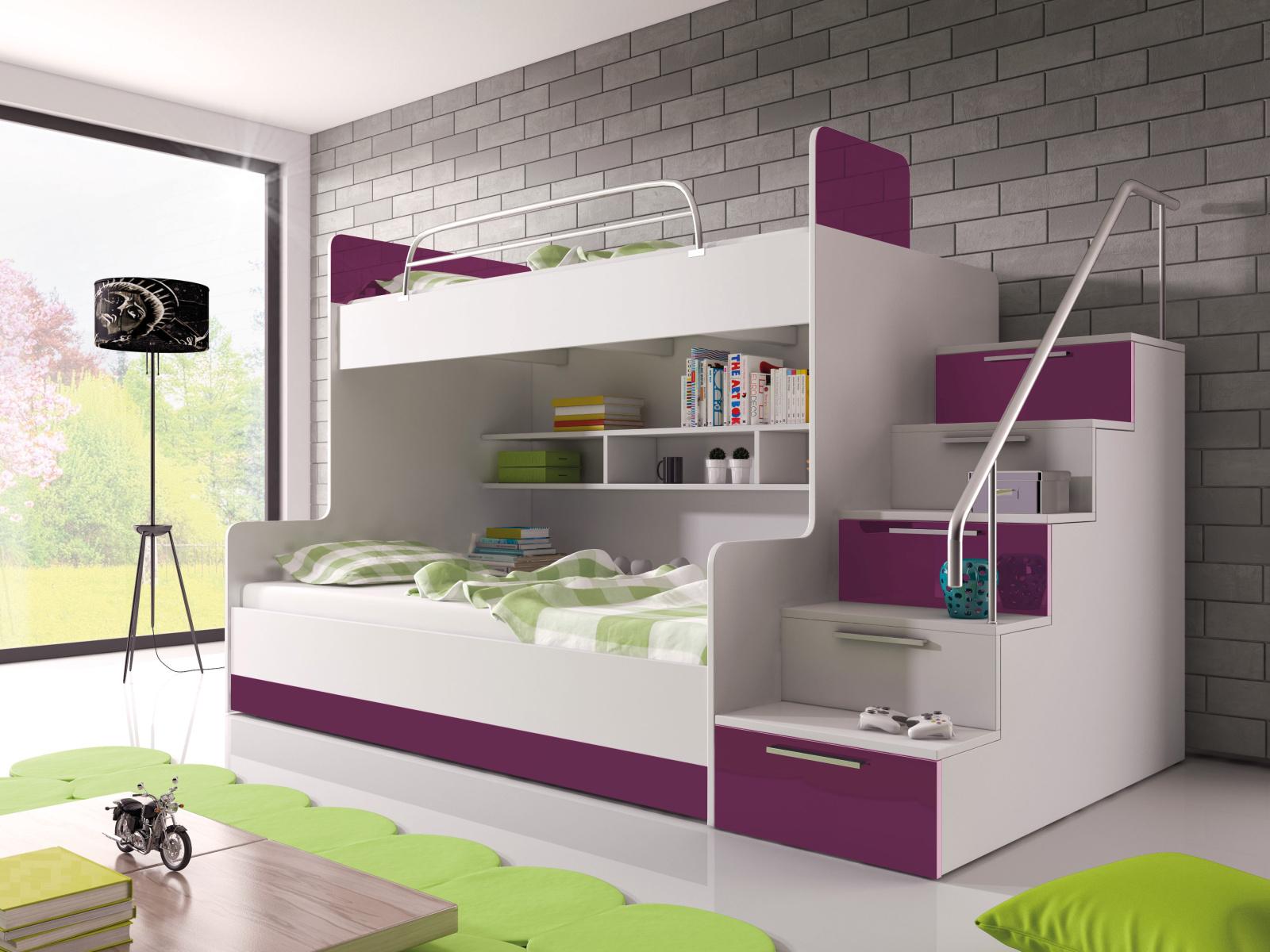 Smartshop Patrová postel RAJ 2 pravá, bílá/fialový lesk