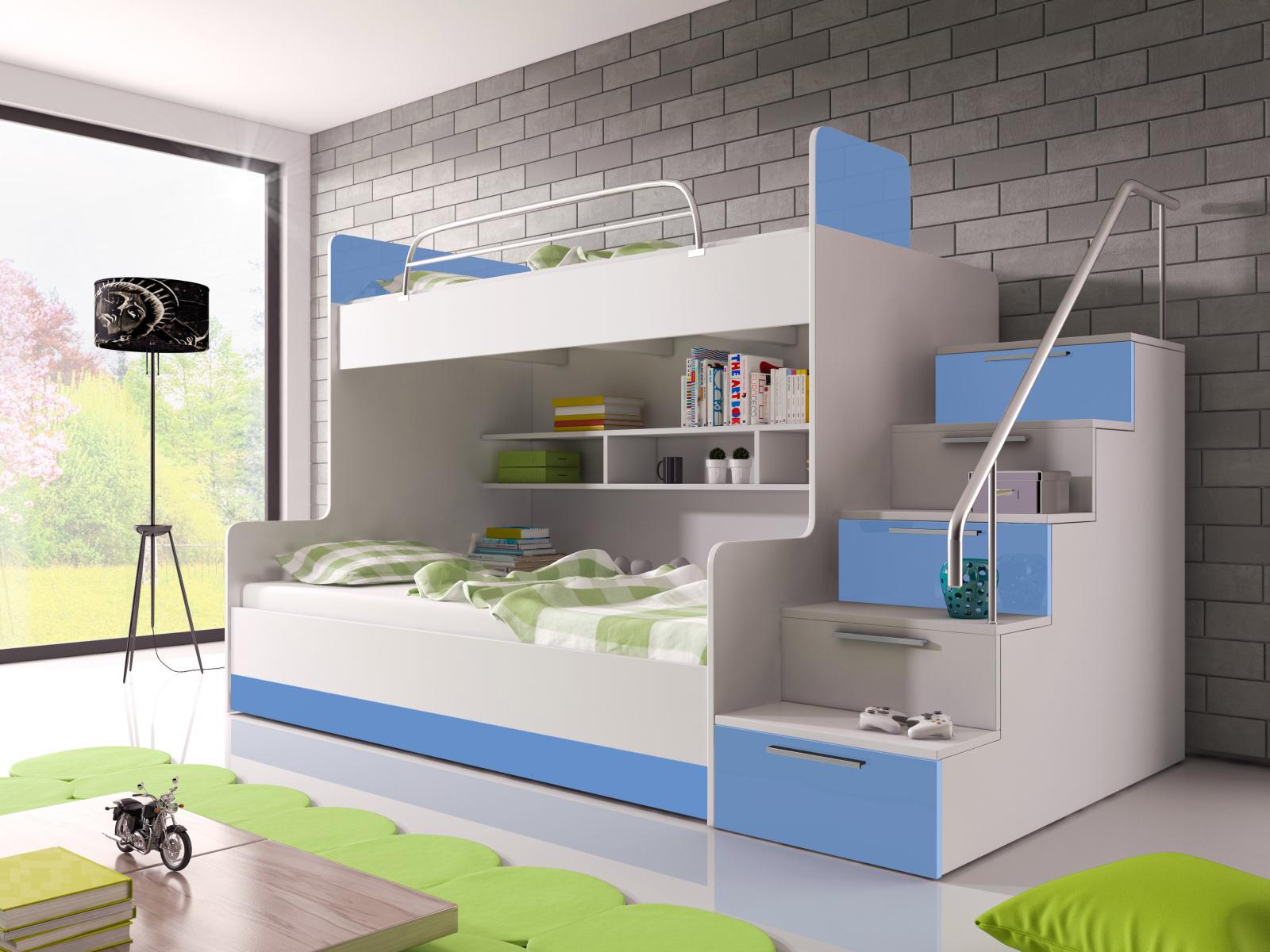 Smartshop Patrová postel RAJ 2 pravá, bílá/modrý lesk