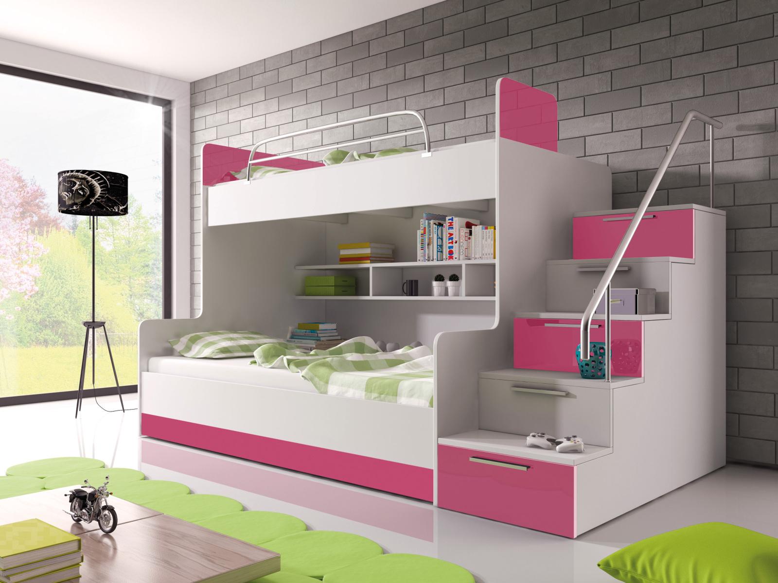 Smartshop Patrová postel RAJ 2 pravá, bílá/růžový lesk