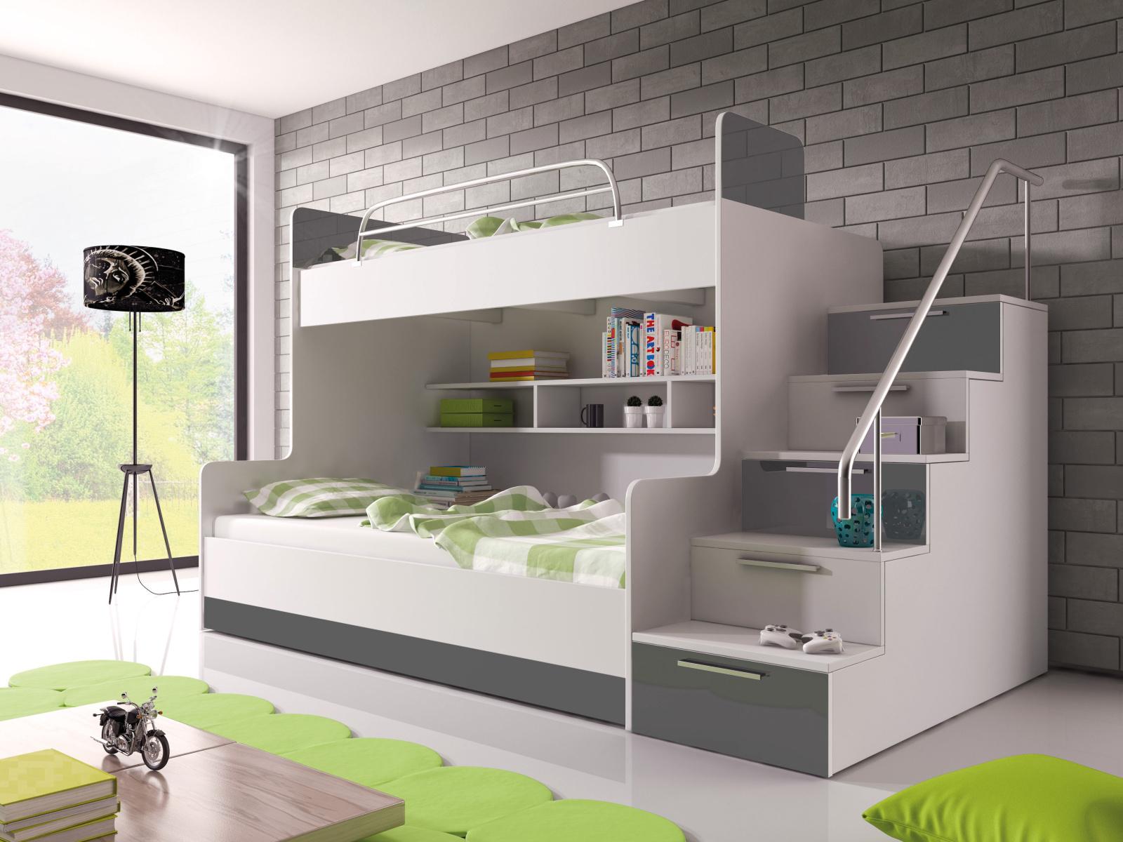 Smartshop Patrová postel RAJ 2 pravá, bílá/šedý lesk