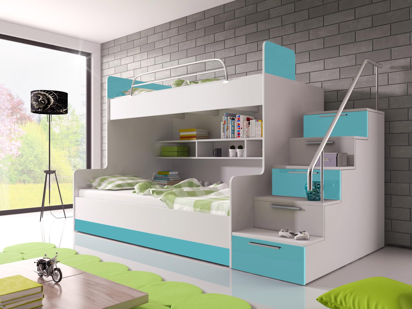 Smartshop Patrová postel RAJ 2 pravá, bílá/tyrkysový lesk