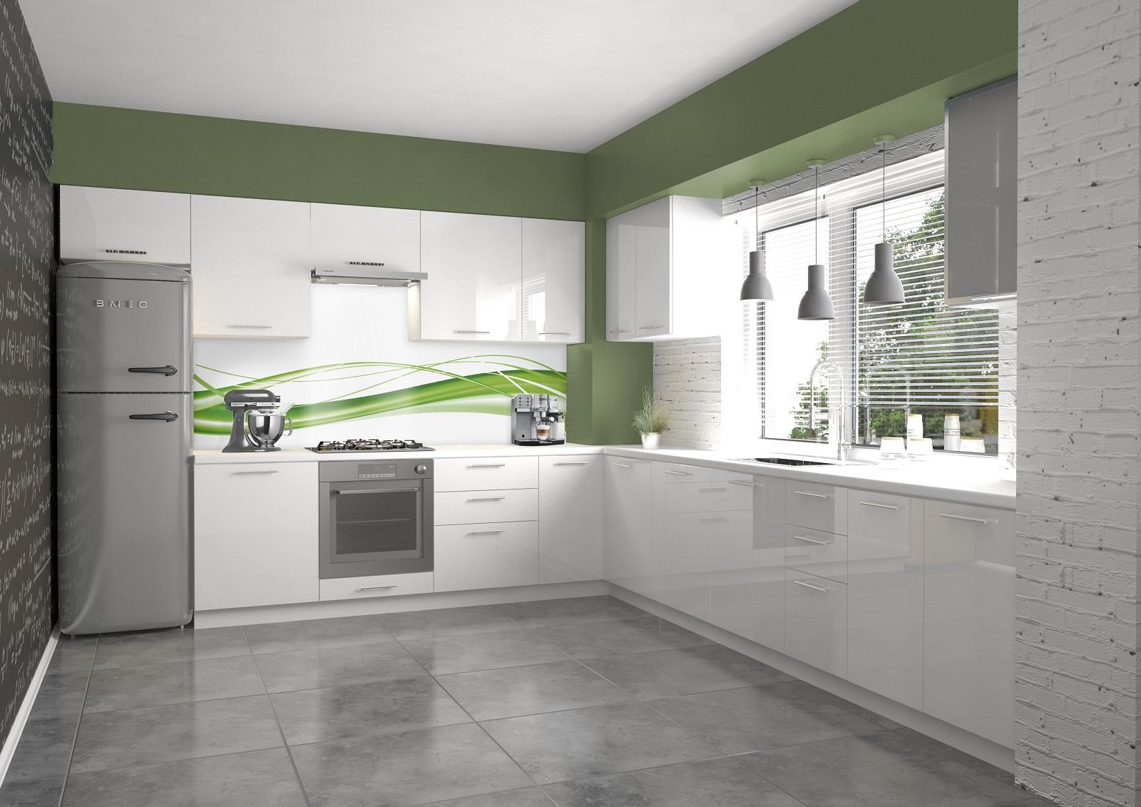 Halmar Rohová kuchyně VENTO 280x245 cm, dvířka: bílý lesk
