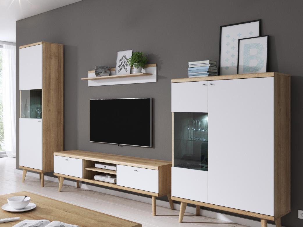Smartshop Obývací stěna PRIMO I, dub riviera/bílá