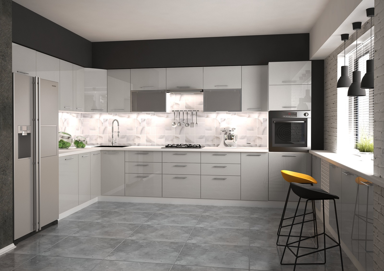 Halmar Rohová kuchyně VENTO 260x380 cm, dvířka: šedý lesk