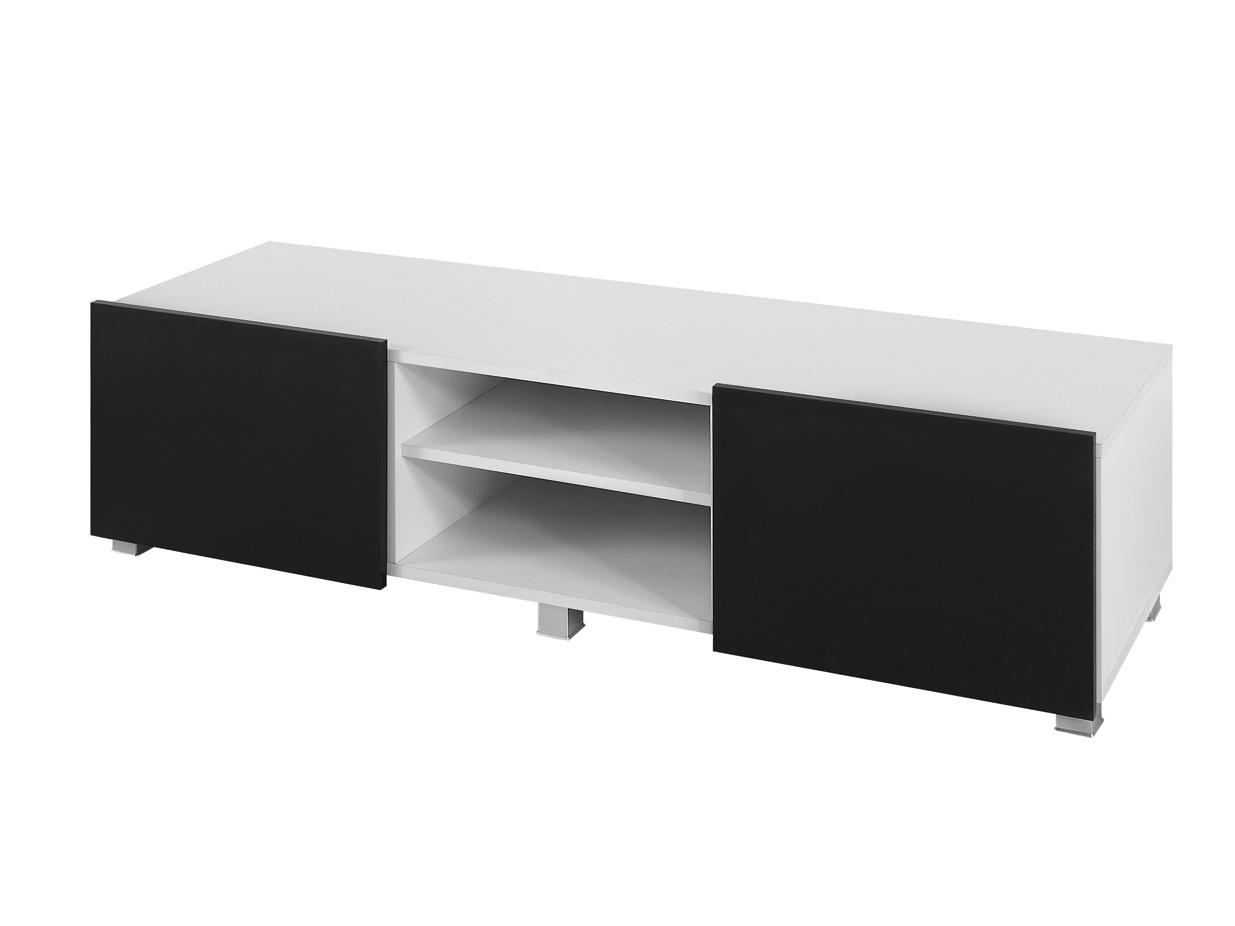 Smartshop Televizní stolek GORDIA RTV2D, bílá/černý lesk