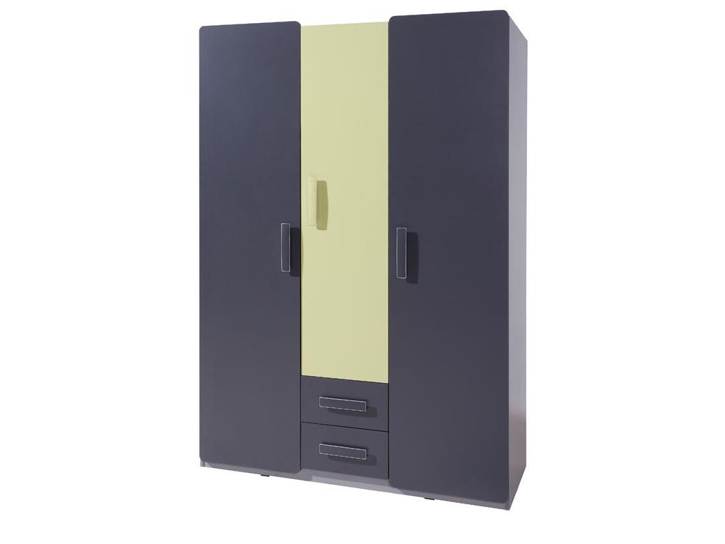 Smartshop Šatní skříň LIDO SZ3D2SZ, šedá/grafit+zelená