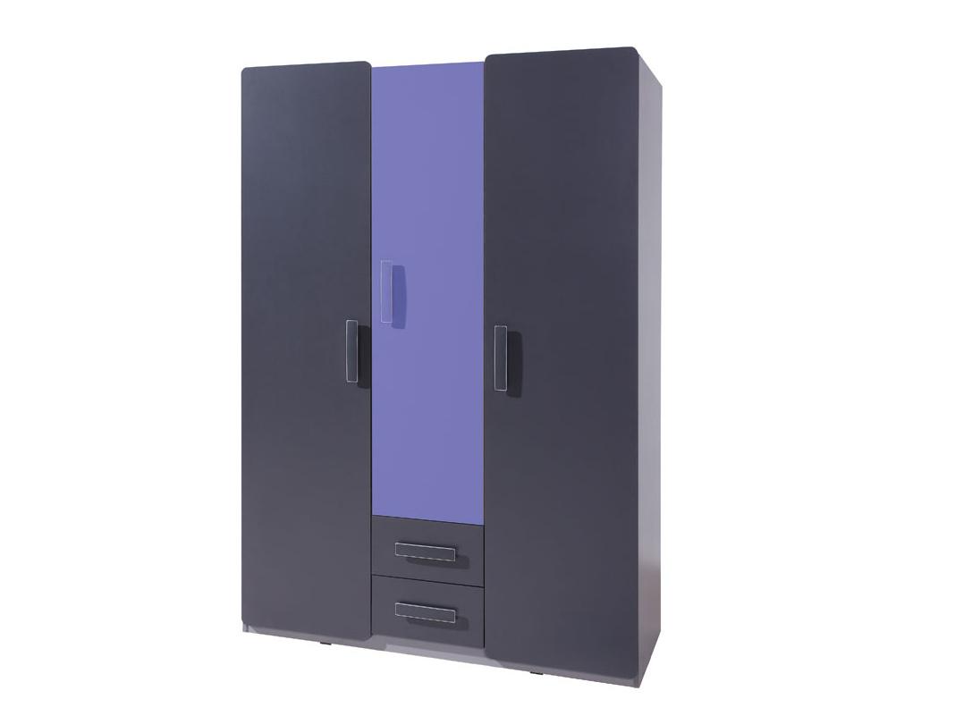 Smartshop Šatní skříň LIDO SZ3D2SZ, šedá/grafit+fialová