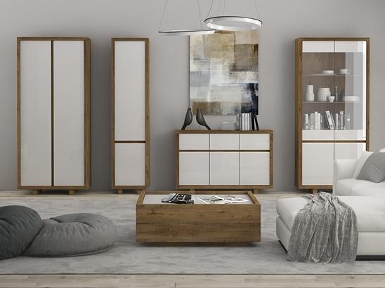 ASPEN obývací pokoj, dub lefkas/bílý lesk