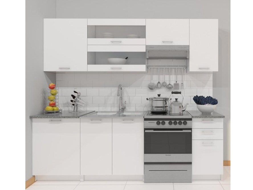 FABIANA, kuchyňská linka 180/240 cm, bílá