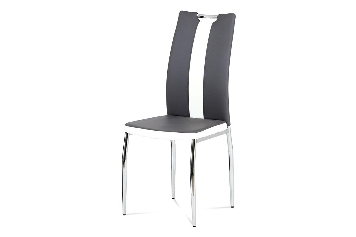 Jídelní židle AC-2202 GREY, koženka šedá+bílá/chrom