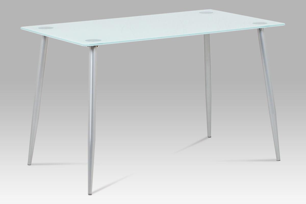 Jídelní stůl GDT-115 WT, mléčné sklo/šedý lak