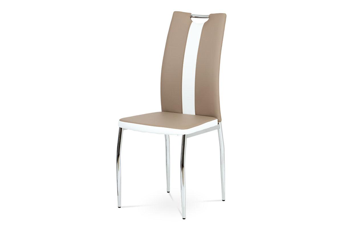 Jídelní židle AC-2202 CAP, koženka cappuccino+bílá/chrom