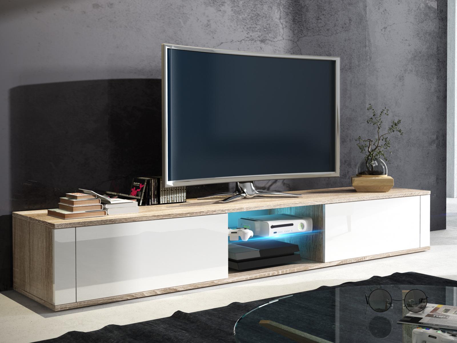 MORAVIA FLAT TV stolek HIT, dub sonoma/bílý lesk