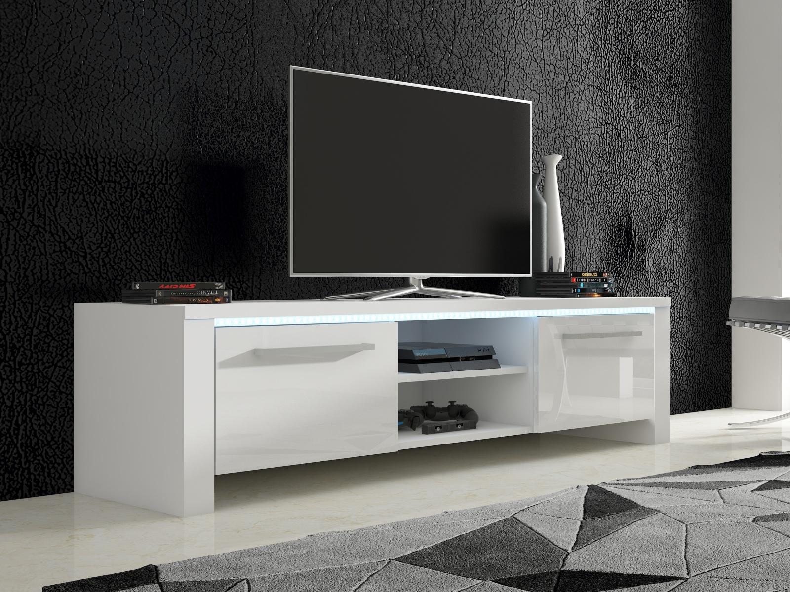 MORAVIA FLAT TV stolek HELIX 2, bílá/bílý lesk