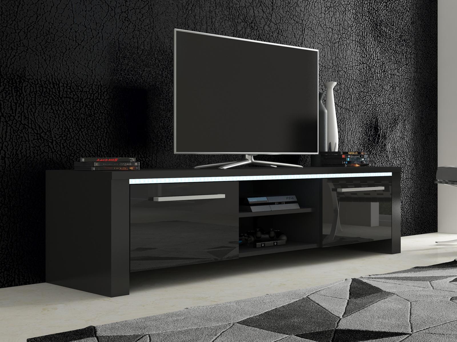 TV stolek HELIX 2, černá/černý lesk