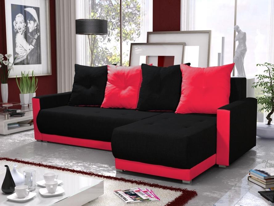 Smartshop Rohová sedačka INSIGNIA BIS 1, černá/červená DOPRODEJ